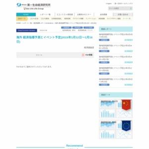 海外 経済指標予測とイベント予定(2015年1月12日~1月16日)