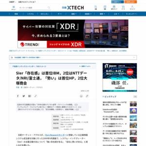 SIer「存在感」は首位IBM,2位はNTTデータ/NRI/富士通,「勢い」は首位HP,2位大塚商会