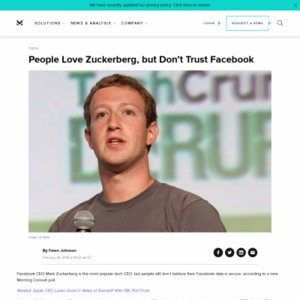 People Love Zuckerberg, but Don't Trust Facebook