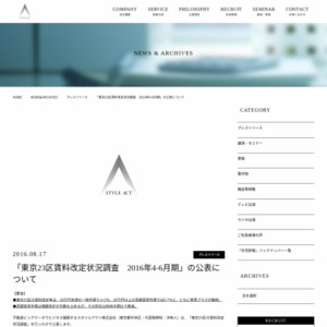 東京23区賃料改定状況調査 2016年4-6月期