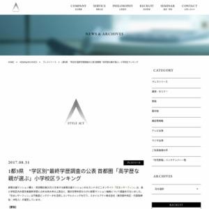 """1都3県 """"学区別""""最終学歴調査"""