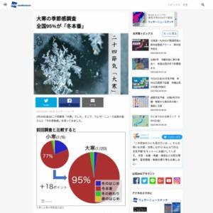 大寒の季節感調査 全国95%が「冬本番」