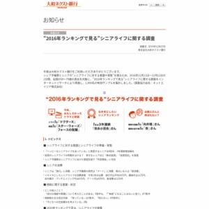 """""""2016年ランキングで見る""""シニアライフに関する調査"""