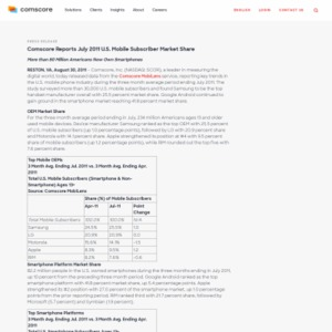 comScore Reports July 2011 U.S. Mobile Subscriber Market Share