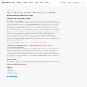 comScore Media Metrix Ranks Top 50 U.S. Web Properties for July 2012
