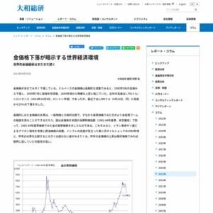 金価格下落が暗示する世界経済環境