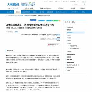 日本経済見通し:消費増税後の日本経済の行方