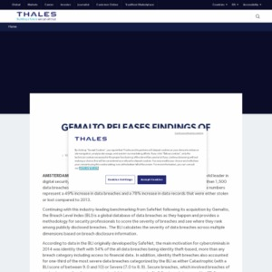 Gemalto Releases Findings of 2014 Breach Level Index