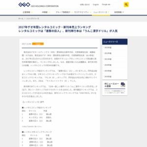 2017年ゲオ年間レンタルコミック・新刊本売上ランキング