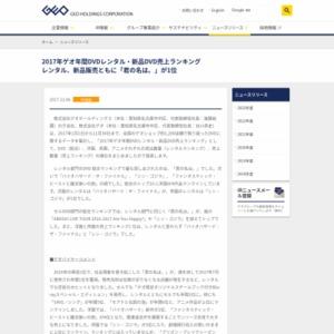 2017年ゲオ年間DVDレンタル・新品DVD売上ランキング