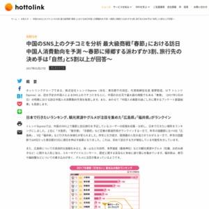 中国のSNS上のクチコミを分析 最大級商戦「春節」における訪日中国人消費動向を予測