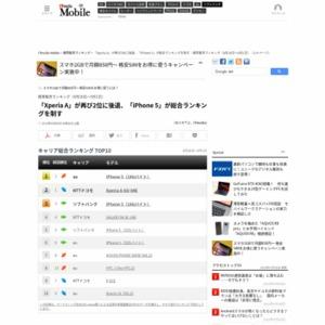 スマートフォン販売ランキング(2013年8月26日~9月1日)