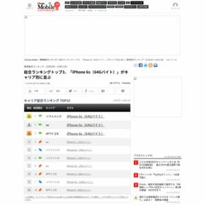 スマートフォン販売ランキング(2015年10月5日~10月11日)