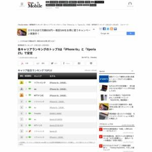 スマートフォン販売ランキング(2016年2月22日~2月28日)