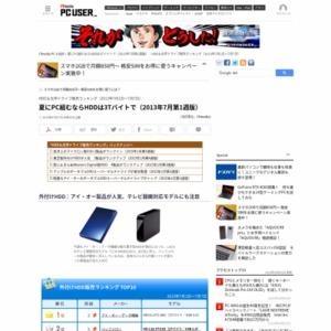HDD&光学ドライブ販売ランキング(2013年7月1日~7月7日)