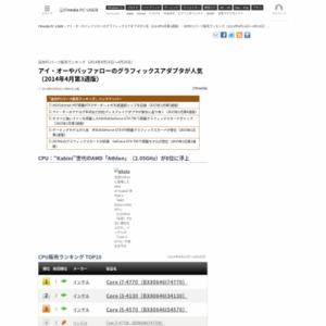 自作PCパーツ販売ランキング(2014年4月14日~4月20日)