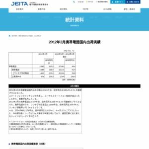 移動電話国内出荷統計(2012年2月分)