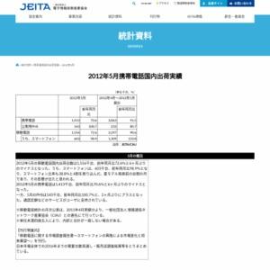 移動電話国内出荷統計(2012年5月分)