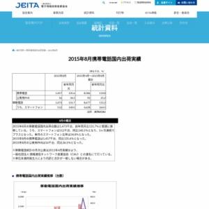 移動電話国内出荷統計(2015年8月分)