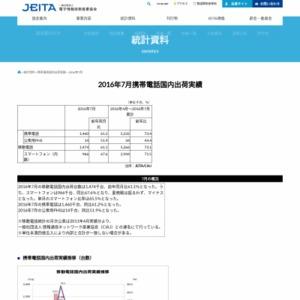 移動電話国内出荷統計(2016年7月分)