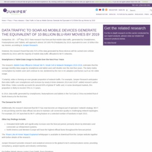 DATA TRAFFIC TO SOAR AS MOBILE DEVICES GENERATE THE EQUIVALENT OF 10 BILLION BLU-RAY MOVIES BY 2019