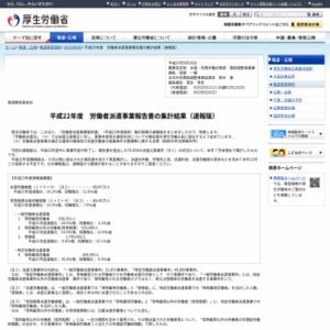 平成22年度 労働者派遣事業報告書の集計結果(速報版)