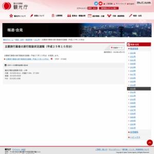 主要旅行業者の旅行取扱状況速報(平成25年10月分)