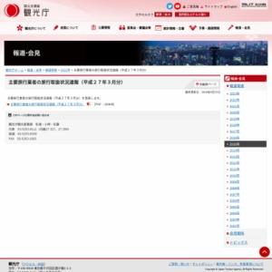 主要旅行業者の旅行取扱状況速報(平成27年3月分)