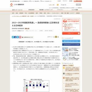 2013~2015年度経済見通し ~ 高成長持続後に正念場を迎える日本経済