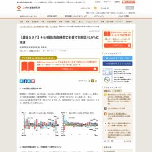 【韓国GDP】4-6月期は船舶事故の影響で前期比+0.6%に減速