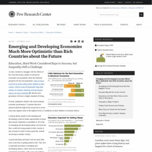 Emerging and Developing Economies Much More Optimistic than Rich Countries about the Future