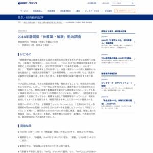 2014年静岡県「休廃業・解散」動向調査