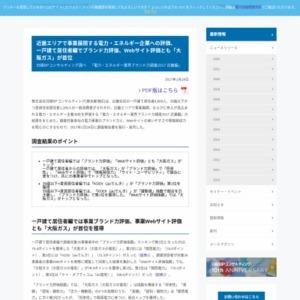 電力・エネルギー業界ブランド力調査2017 近畿編