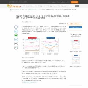 収益物件 市場動向マンスリーレポート 2017/12