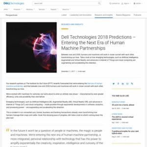 Dell Technologies 2018 Predictions ? Entering the Next Era of Human Machine Partnerships