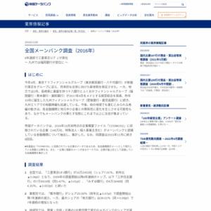 全国メーンバンク調査(2016年)