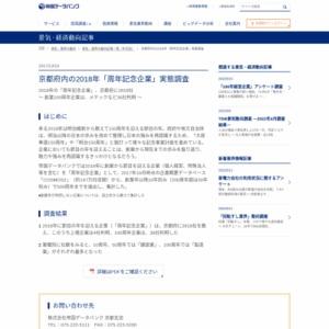 京都府内の2018年「周年記念企業」実態調査